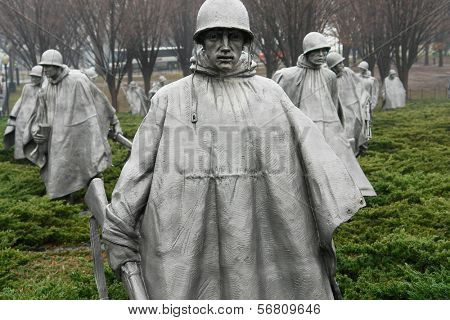 WASHINGTON DC - JANUARY 10, 2014: Korean War Veterans Memorial located in National Mall in Washington DC. The Memorial commemorates those who served in the Korean War.