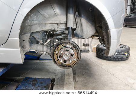 Old Brake Pads And Cylinder Brake Drum