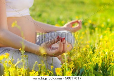 Healthy Pregnant Woman Doing Yoga In Nature Outdoors