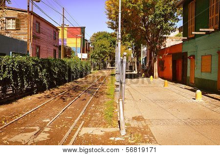 RRailway on the street of La Boca region.