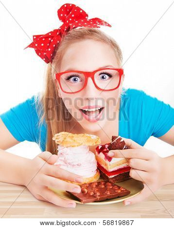 Chocolate and cake sweets temptation, funny woman eating dessert