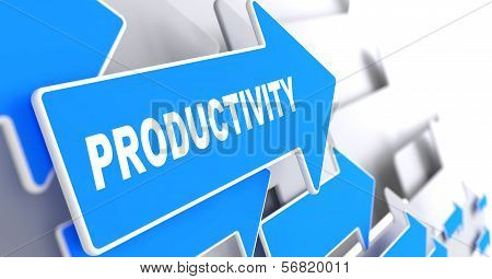 Productivity Word on Blue Arrow.