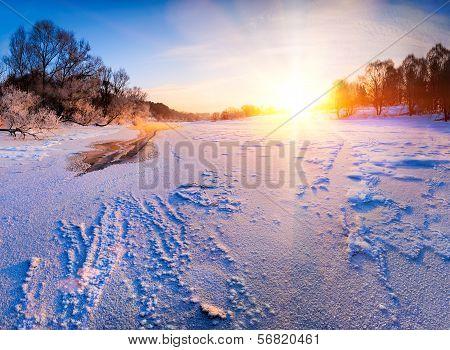 Sunrise Over The Frozen River - Winter Landscape