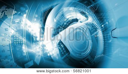 Digital image of car steering wheel with icons