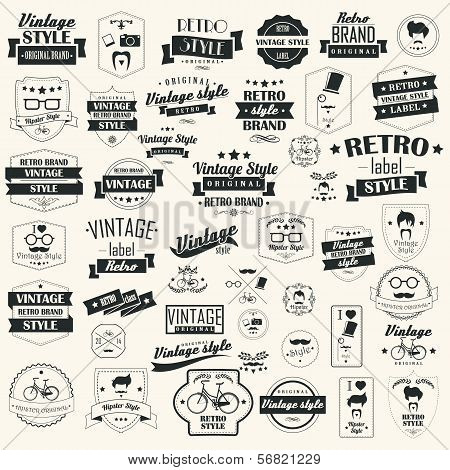 Set of vintage retro labels, stamps, ribbons, marks and calligraphic design elements, typographical