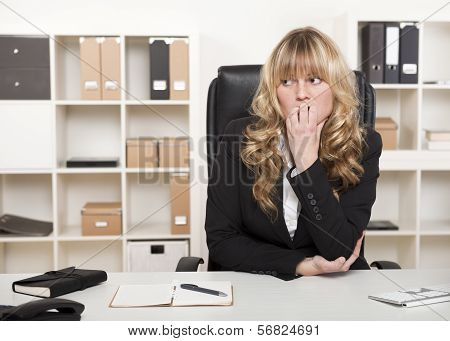 Pensive Worried Businesswoman