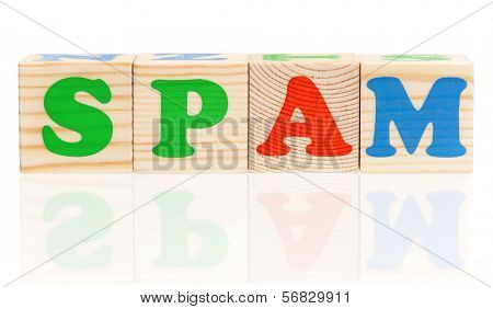 Spam word construction with letter cubes isolated on white background