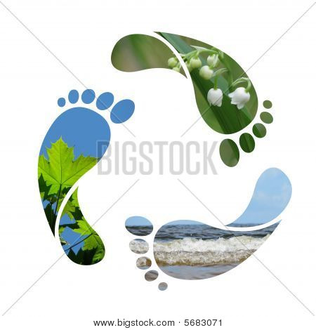 Footprint recycle sign