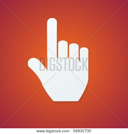 Paper Hand Cursor on Orange Background