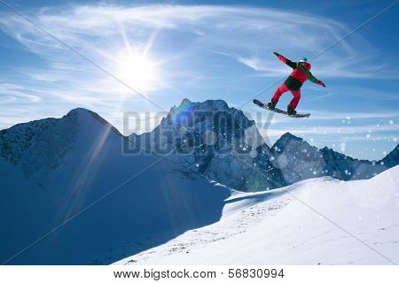 winter sport snowboarding in snow mountain