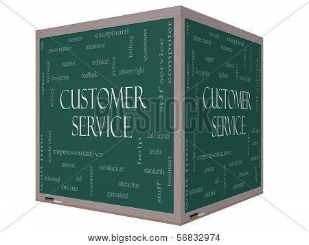 Customer Service Word Cloud Concept On A 3D Cube Blackboard