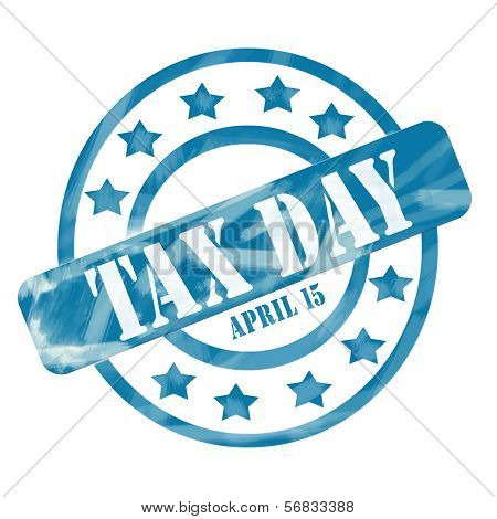 Blue Weathered Tax Day April 15Th Stamp Circles And Stars