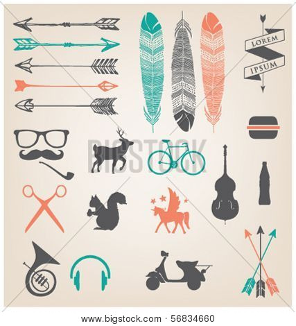 URBAN ICONS & SYMBOLS. HIPSTER TREND.