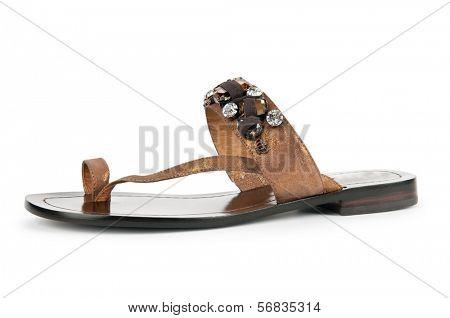 Elegant flat shoes isolated on white
