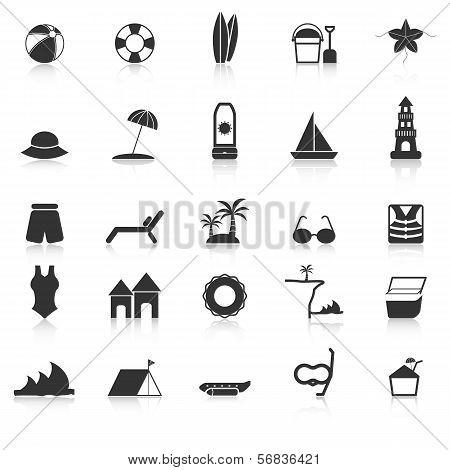 Beach Icons With Reflect On White Background