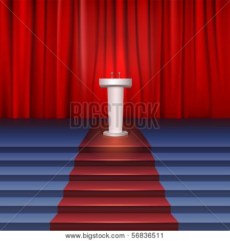 Scene with curtain, tribune and stairs covered red carpet. Place for performances