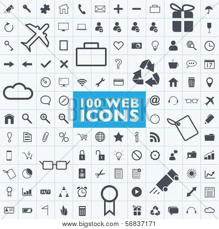 Set of 100 grey web, internet, office, computer, travel icon vectors with grid