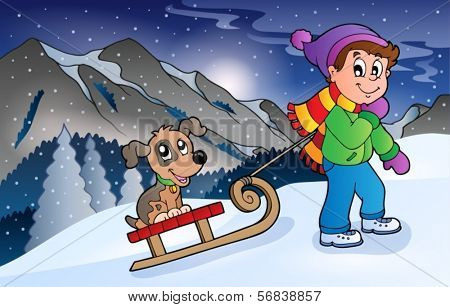 Boy with dog on sledge in winter - eps10 vector illustration.