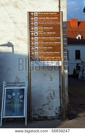 ZAGREB, CROATIA - JANUARY 12, 2014: Guidepost in Zagreb, Croatia