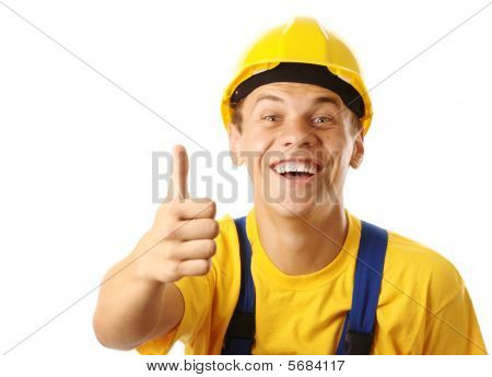 Young Cheerful Worker Showing Thumb Up Sign