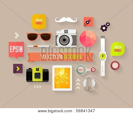 Flat Design Vector Set. Hipster Theme. Mustache, Glasses, Speech Bubbles, Tablet PC, Camera, Phone and other Icons Design.