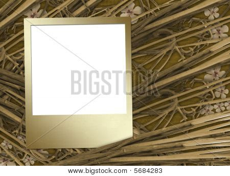 Grunge  Slide For Photo  With Flowers And Bamboo