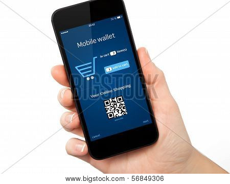 Isolated Woman Hand Holding The Phone With Onlain Shopping On The Screen