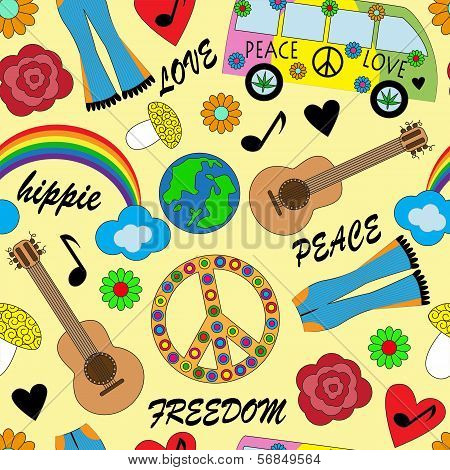 seamless bright background with accessories hippies