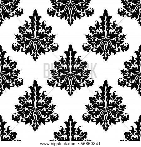 Seamless Damask Style Floral Wallpaper