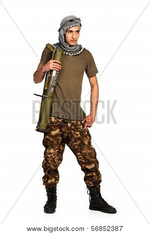 Arab Nationality In Camouflage Suit And Keffiyeh With Launcher On White Background