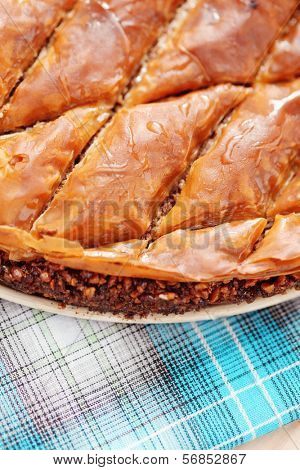 homemade delicious baklava - sweet food /shallow DoFF/