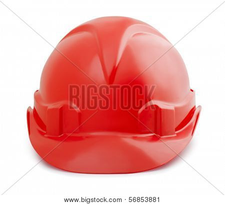 Red constuction safety helmet isolated on white