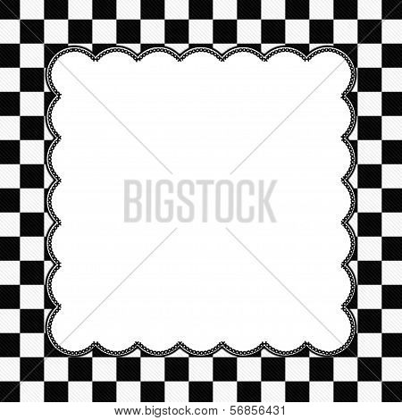 Black And White Checkered Frame With Embroidery Background