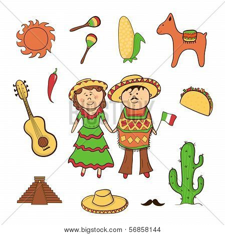 Mexican icon vector set