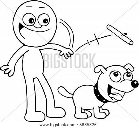 Man Throwing Stick For Dog
