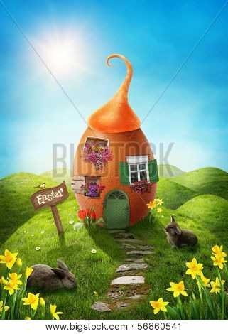 Spring easter meadow with egg house