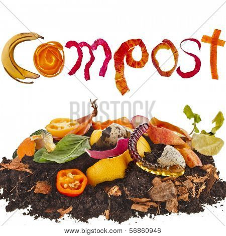 compost  pile soil of kitchen scraps close up isolated on white background