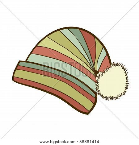 Striped winter cap with pompon
