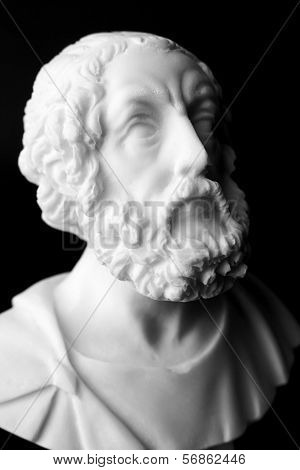 "Homer Is The Author Of The Poems, Iliad And Odyssey Known As ""homeric Epics"".  White Marble Bust Of"