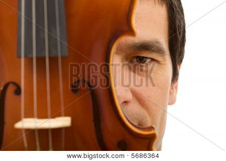 Man Face Hidden Behind Violin