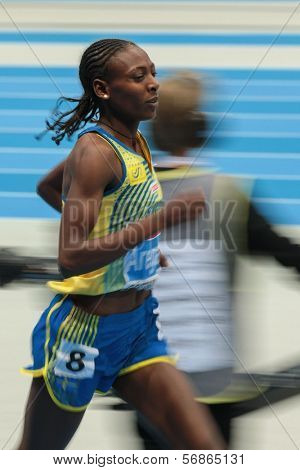 GOTHENBURG, SWEDEN - MARCH 2 Adeba Aregawi (Sweden) wins the women's 1500m finals during the European Athletics Indoor Championship on March 2, 2013 in Gothenburg, Sweden.