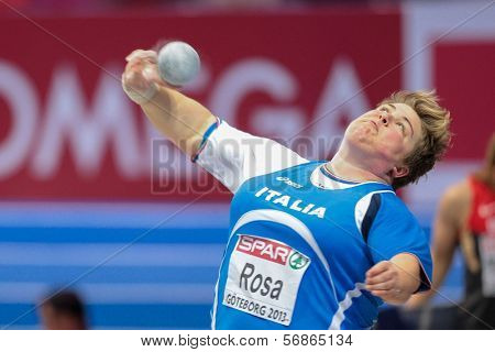 GOTHENBURG, SWEDEN - MARCH 3 Chiara Rosa (Italy)  places 4th in the women's shot put finals during the European Athletics Indoor Championship on March 3, 2013 in Gothenburg, Sweden.
