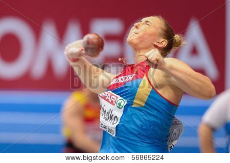 GOTHENBURG, SWEDEN - MARCH 3 Yevgeniya Kolodko (Russia) places 2nd in the women's shot put finals during the European Athletics Indoor Championship on March 3, 2013 in Gothenburg, Sweden.