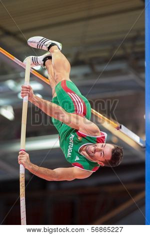 GOTHENBURG, SWEDEN - MARCH 3 Tiago Marto (Portugal) places 10th in the men's pentathlon pole vault event during the European Athletics Indoor Championship on March 3, 2013 in Gothenburg, Sweden.