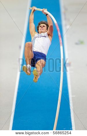 GOTHENBURG, SWEDEN - MARCH 3 Adam Helcelet (CZE) places 4th in the men's pentathlon pole vault event during the European Athletics Indoor Championship on March 3, 2013 in Gothenburg, Sweden.