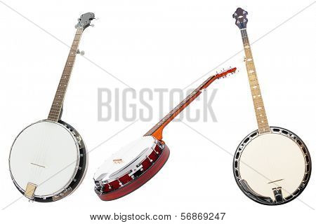 The image of banjos under the white background