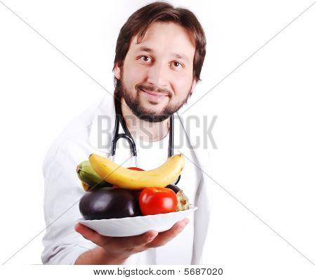Asesoramiento médico de hombre joven sano Natural Food