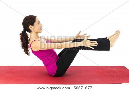 Woman Doing Boat Pose In Yoga