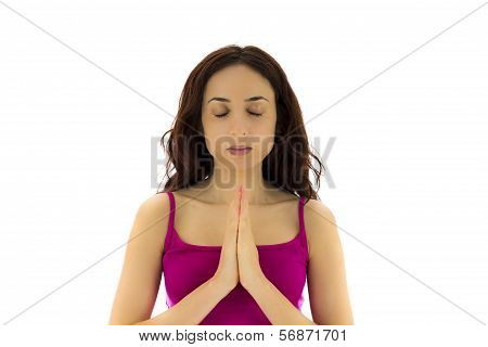 Woman In Namaste Pose