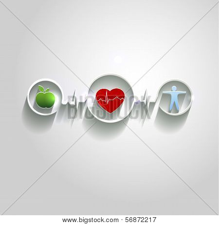 Health Care Concept Symbols Conncected